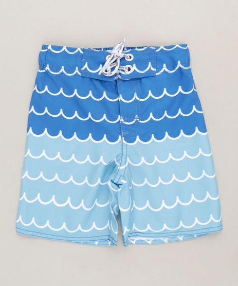 Bermuda-Infantil-Estampada-de-Ondas-com-Cordao-e-Bolso-Azul-9215834-Azul_1
