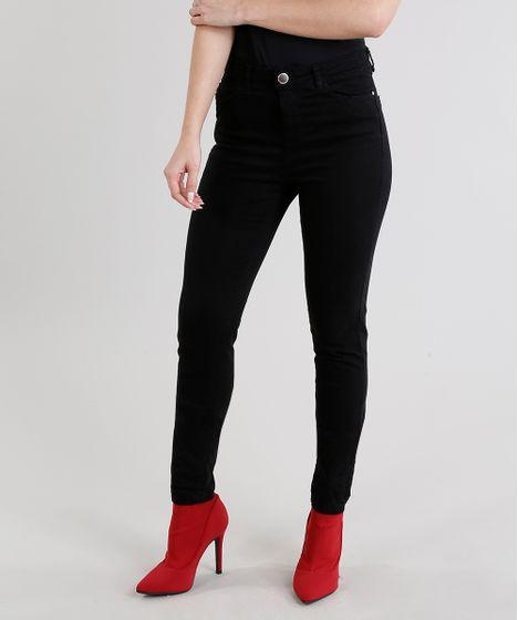 7a98eadf3 Calça de Sarja Feminina Super Skinny Cintura Alta Preta - cea