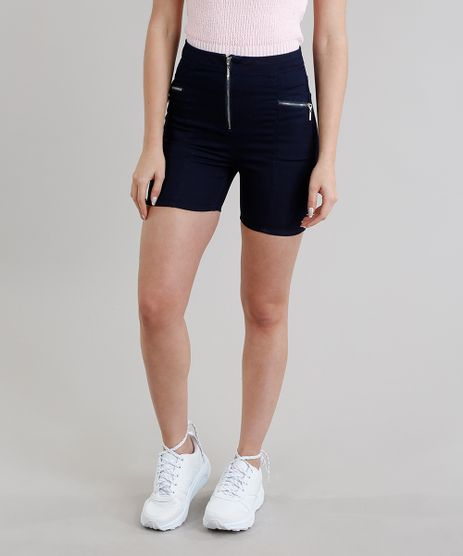 Short-Jeans-Feminino-Cintura-Alta-com-Ziper-Azul-Escuro-9306431-Azul_Escuro_1