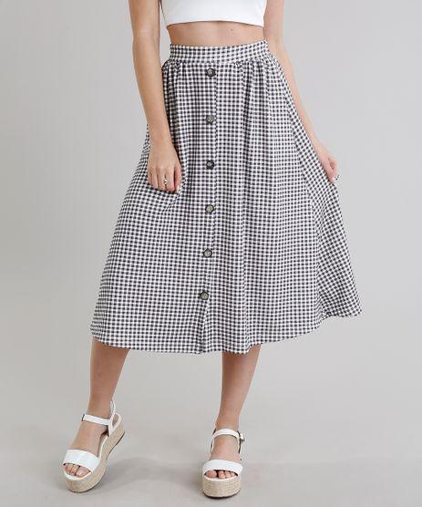 Saia-Midi-Feminina-Xadrez-Vichy-com-Botoes-Off-White-9278888-Off_White_1