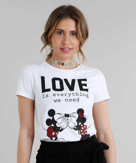 Blusa-Feminina-Mickey-e-Minnie--Love--Manga-Curta-Decote-Redondo-Off-White-9238962-Off_White_1