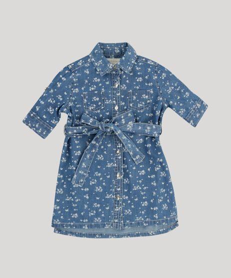 Vestido-Chemise-Jeans-Infantil-Estampado-Floral-com-Bolsos-Manga-Curta-Azul-Escuro-9174605-Azul_Escuro_1