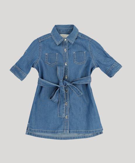 Vestido-Chemise-Jeans-Infantil-com-Bolsos-Manga-Curta-Azul-Medio-9174606-Azul_Medio_1
