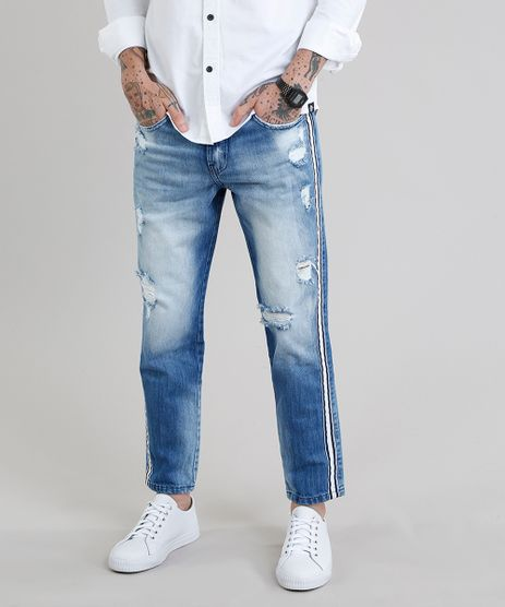 Calca-Jeans-Masculina-Tapered-Cropped-Destroyed-Eco-Recycle-Azul-Claro-9202838-Azul_Claro_1