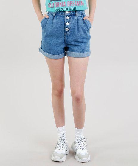 Short-Jeans-Feminino-Cintura-Alta-com-Pregas-Azul-Medio-9341564-Azul_Medio_1