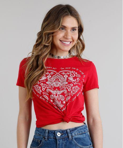 f1f2315f942c Blusa Feminina Coração Manga Curta Decote Redondo Vermelha - cea