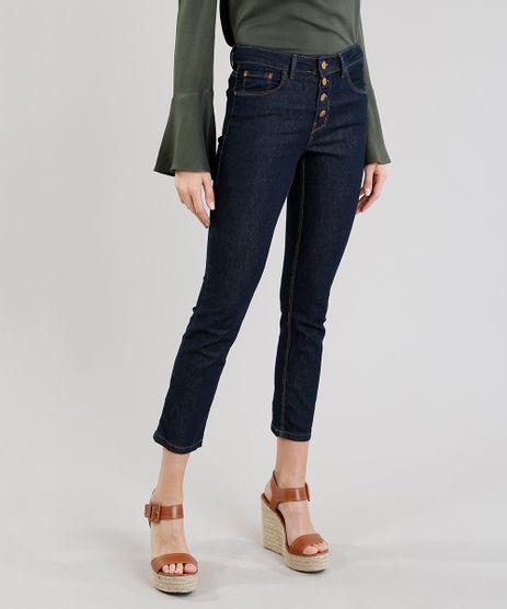 Calca-Jeans-Feminina-Slim-com-Botoes-Azul-Escuro-9299943-Azul_Escuro_1