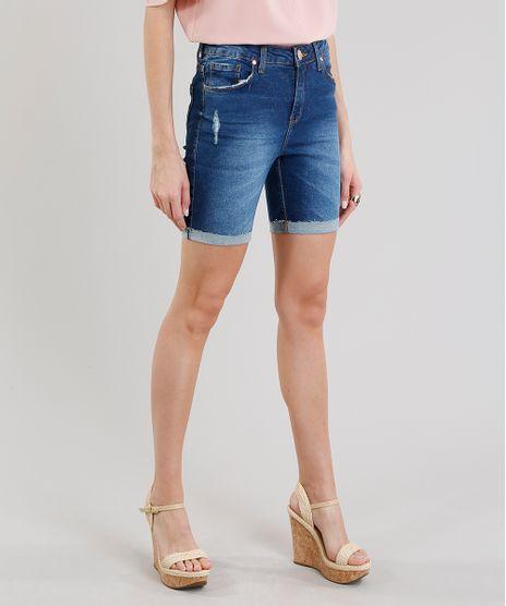 Bermuda-Jeans-Feminina-com-Puidos-Azul-Escuro-9226282-Azul_Escuro_1