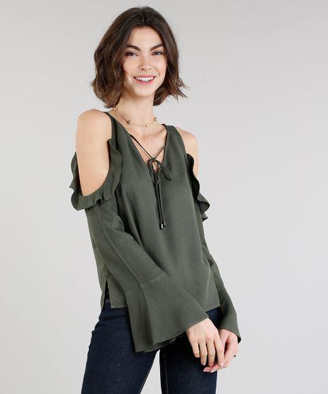 Blusa-Feminina-Estampada-Floral-Open-Shoulder-com-Babados-Manga-Longa-Decote-V-Verde-Militar-9023806-Verde_Militar_1