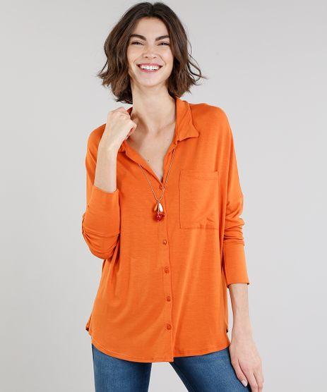 Camisa-Feminina-em-Malha-Manga-Longa-Laranja-9245744-Laranja_1