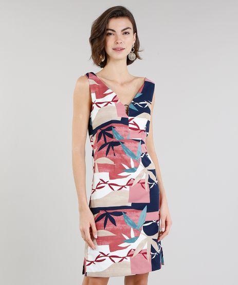 Vestido-Feminino-Estampado-de-Folhagem-com-Argola-Decote-V-Rose-9197160-Rose_1