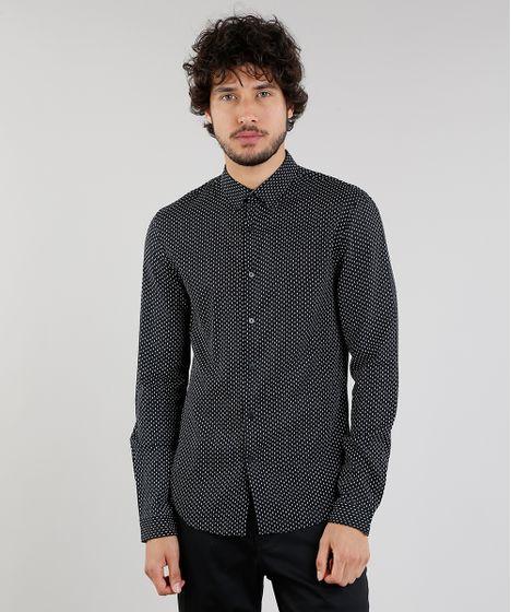 51a9d59240 Camisa-Masculina-Slim-Estampada-Manga-Longa-Preta-9089574- ...