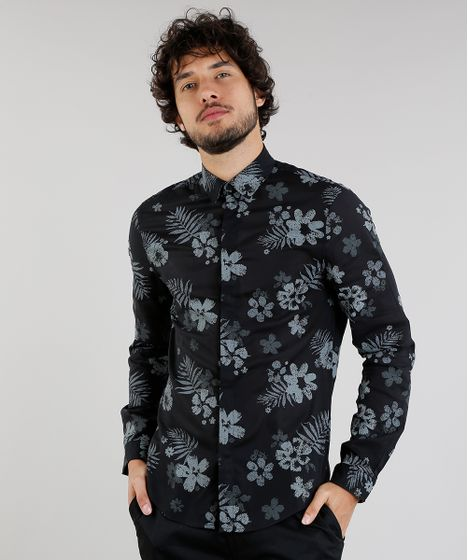 595ab69720 Camisa Masculina Slim Estampada Floral Manga Longa Preta - cea
