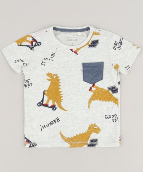 Camiseta-Infantil-Estampada-de-Dinossauros-Manga-Curta-Gola-Careca-Cinza-Mescla-Claro-9227994-Cinza_Mescla_Claro_1