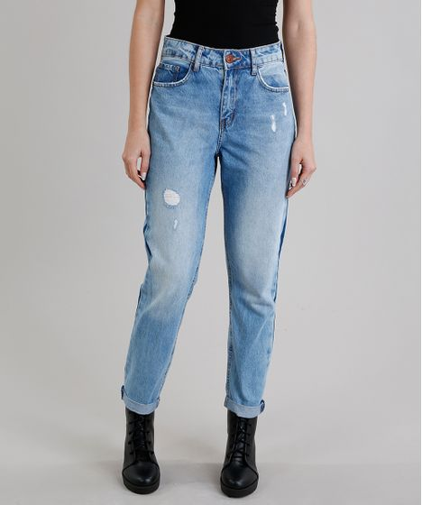 4f88eb4462d07 Calça Jeans Feminina Mom Pants com Listra Lateral Azul Claro - cea