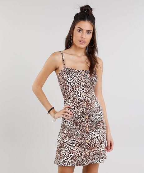 Vestido-Feminino-Estampado-Animal-Print-Curto-com-Botoes-Bege-9279907-Bege_1