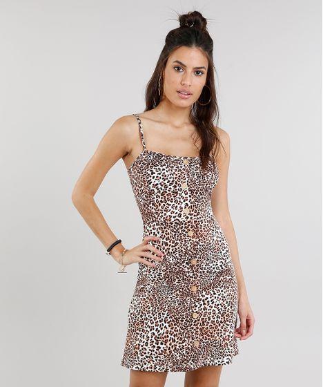 Vestido Feminino Estampado Animal Print Curto com Botões Bege - cea 13327c640f3