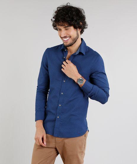 Camisa-Masculina-Slim-Estampada-Manga-Longa-Azul-Marinho-9095676-Azul_Marinho_1