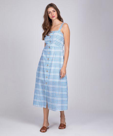 Vestido-Midi-Xadrez-com-Botoes-Azul-9258517-Azul_1