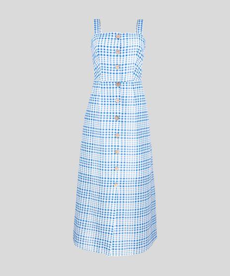 Vestido-Midi-Xadrez-com-Botoes-Azul-9258517-Azul_2