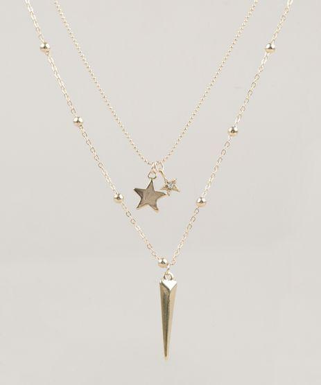 Colar-Duplo-Feminino-com-Pingentes-de-Estrela-Dourado-9218455-Dourado_1