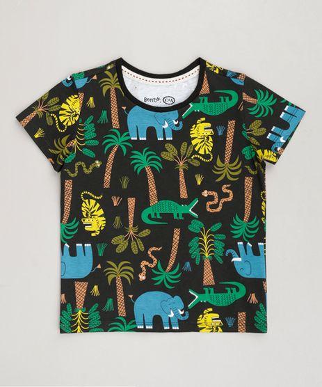 Camiseta-Infantil-Bento-Estampada-de-Folhas-Manga-Curta-Gola-Careca--Preta-9242767-Preto_1