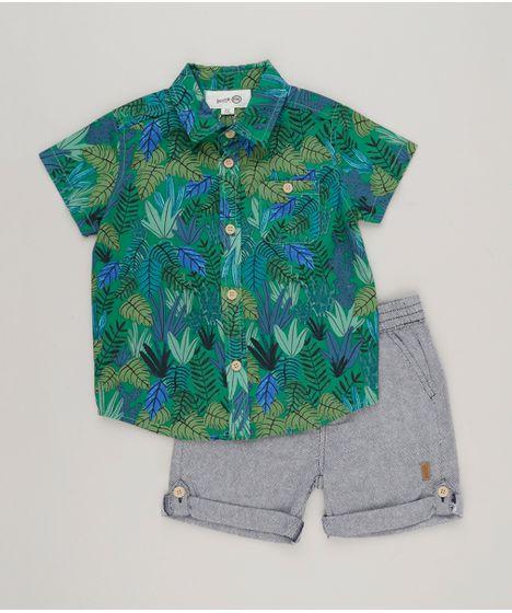 Conjunto Infantil Bento de Camisa Estampada de Folhas Manga Curta Verde +  Bermuda com Bolsos Azul Marinho - cea b2fef1da3c