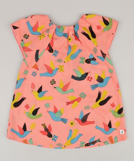 Vestido-Infantil-Fabula-Estampado-de-Passaros-com-Laco-Manga-Curta-Decote-Redondo-Coral-9164669-Coral_1