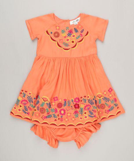 Vestido-Infantil-Fabula-com-Bordado-Floral-Manga-Curta-Decote-Redondo---Calcinha-Coral-9170756-Coral_1