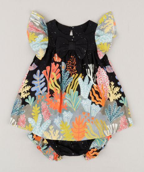 Vestido-Infantil-Fabula-com-Estampa-Fundo-do-Mar-e-Laco-Manga-Curta-Decote-Redondo---Calcinha-Preto-9183735-Preto_1