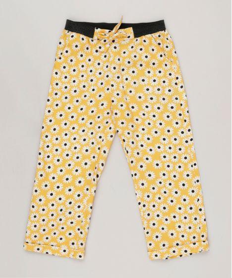 1f880704e1 Calça Infantil Fábula Estampada de Margarida com Nó Amarela - cea