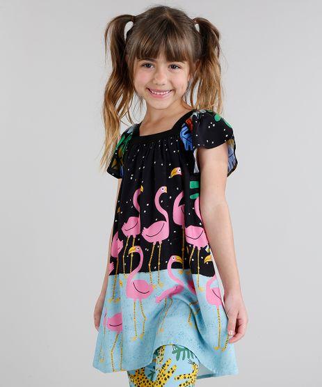 Vestido-Infantil-Fabula-com-Estampa-de-Flamingos-Manga-Curta-Preto-9180731-Preto_1
