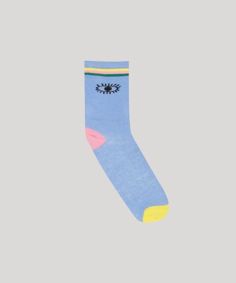 Meia-Infantil-Fabula-Cano-Alto-Estampada-de-Olhos-e-Listras-Azul-9268049-Azul_1