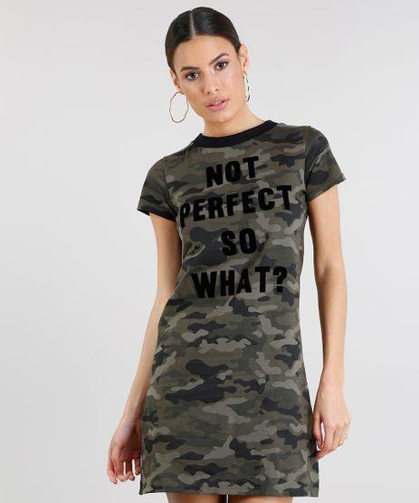 Vestido-T-shirt-Feminino-Estampado-Camuflado--Not-Perfect-So-Whats---Manga-Curta-Decote-Redondo-Verde-Militar-9250808-Verde_Militar_1