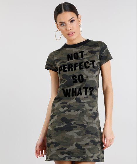 6612b5bd2 Vestido T-shirt Feminino Estampado Camuflado