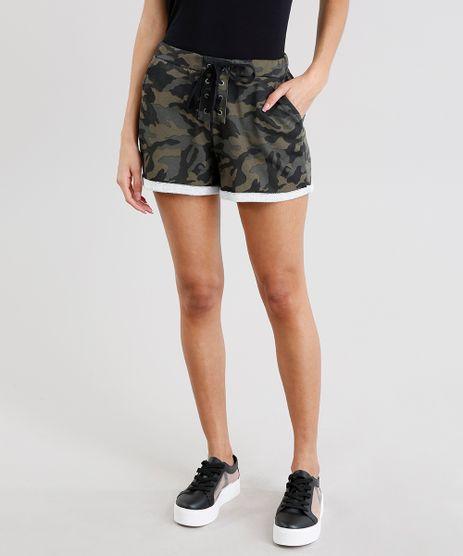 Short-Feminino-Estampado-Camuflado-em-Moletom-com-Lace-Up-Verde-Militar-9248496-Verde_Militar_1