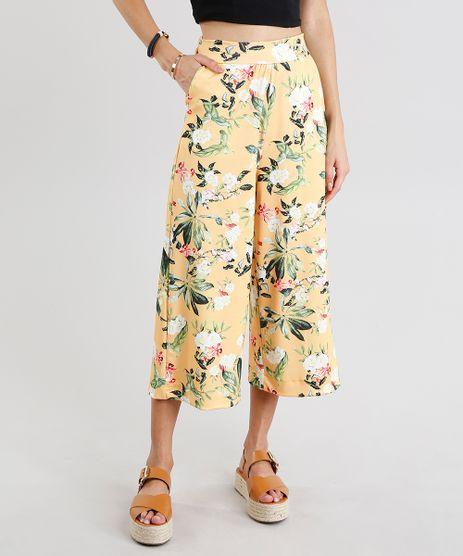 Calca-Feminina-Pantacourt-Estampada-Floral-Amarela-9278894-Amarelo_1