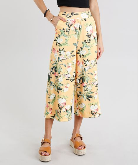 1a6f396509 Calca-Feminina-Pantacourt-Estampada-Floral-Amarela-9278894-Amarelo 1 ...