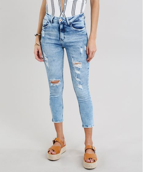 cbcaff52a Calça Jeans Feminina Cropped Destroyed Cintura Alta Azul Claro - cea