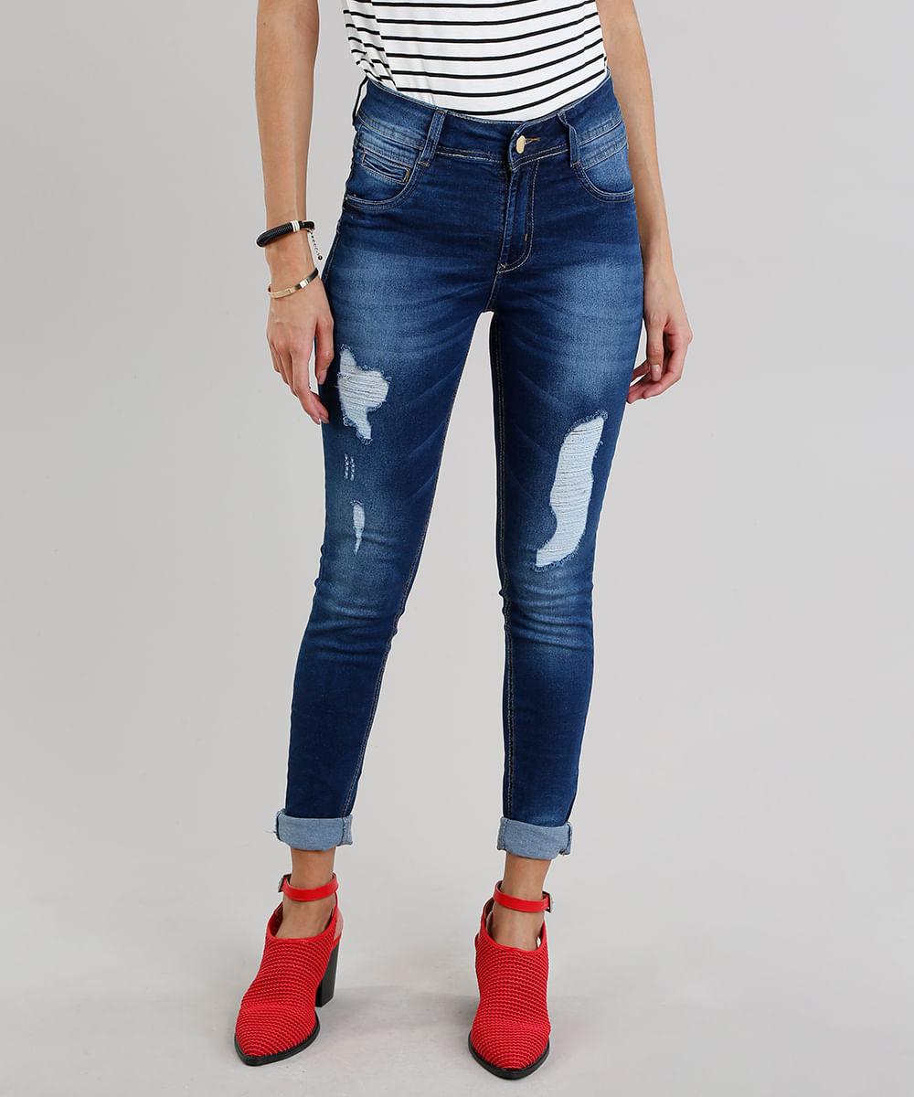 0ca6f86e1 Calça Jeans Feminina Super Skinny Sawary Levanta Bumbum Azul Escuro ...