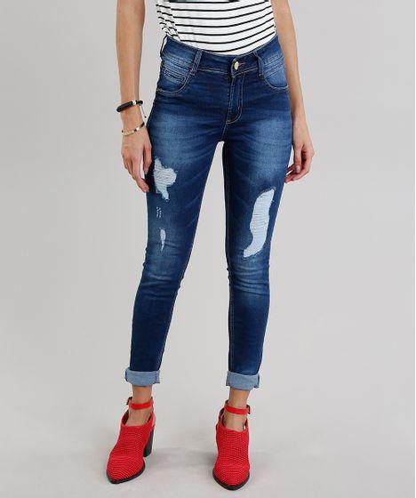 96b033afb Calça Jeans Feminina Super Skinny Sawary Levanta Bumbum Azul Escuro ...