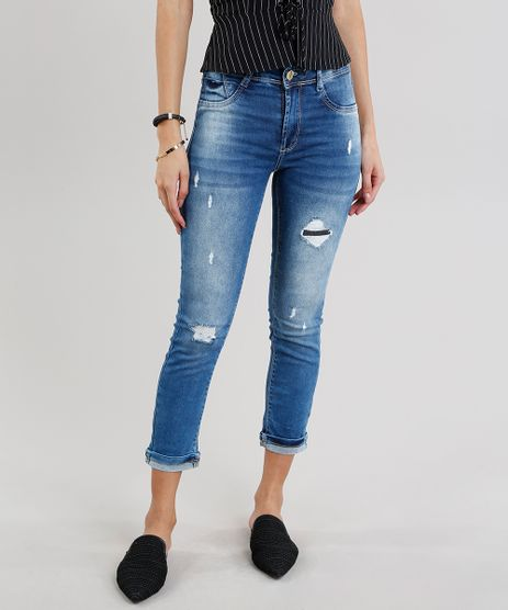 Calca-Jeans-Feminina-Cropped-Sawary-Cintura-Alta-Azul-Medio-9240762-Azul_Medio_1