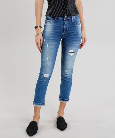 566624f79 Calça Jeans Feminina Cropped Sawary Cintura Alta Azul Médio - cea