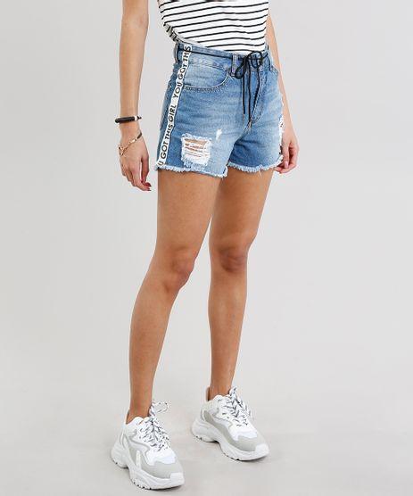 Short-Jeans-Feminino-Vintage-com-Faixa-Lateral-e-Cadarco-Azul-Medio-9271809-Azul_Medio_1
