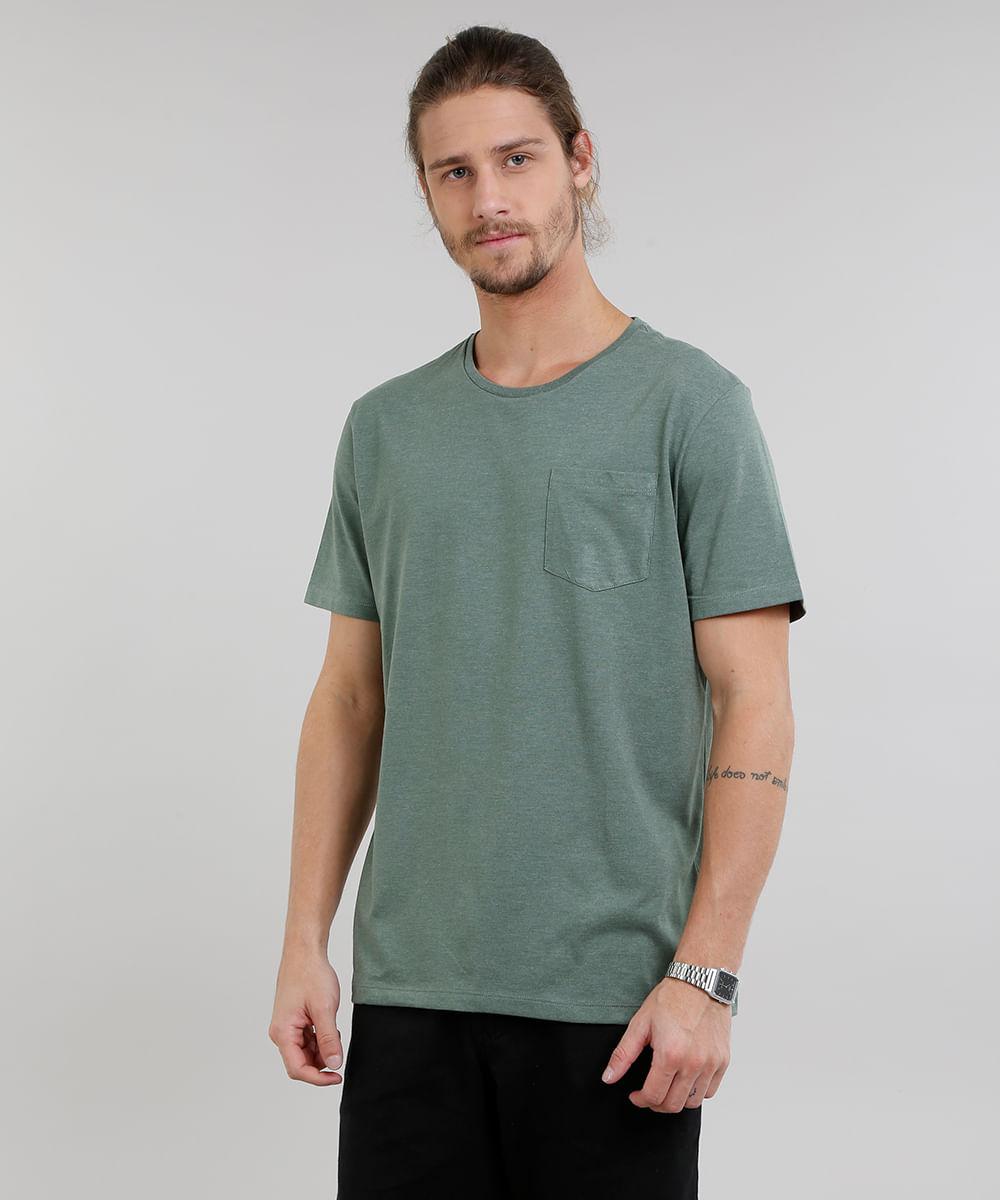 302a00c8d Camiseta Masculina Básica Mescla Manga Curta Gola Careca Verde ...