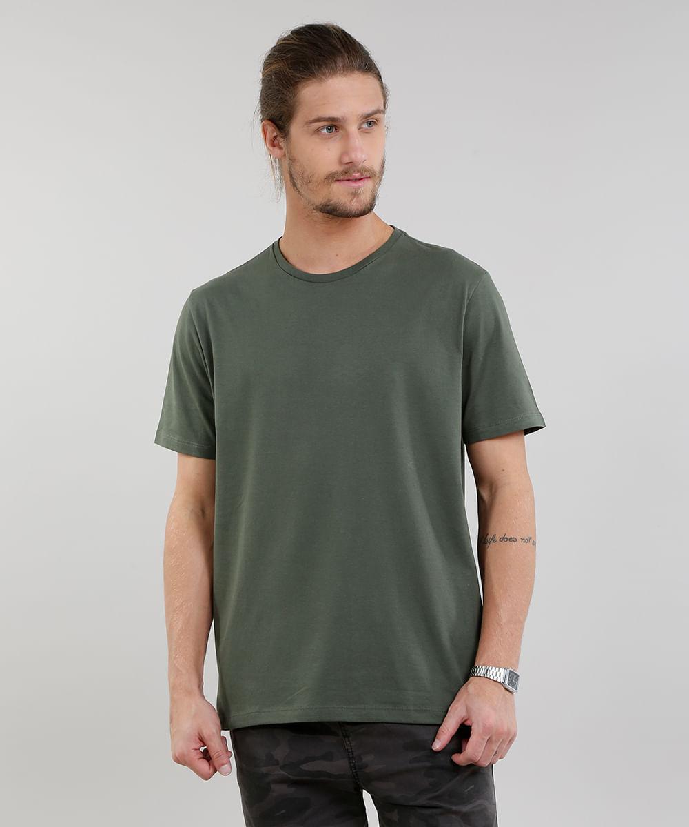 62733e006 Camiseta Masculina Básica Manga Curta Gola Careca Verde Militar - cea