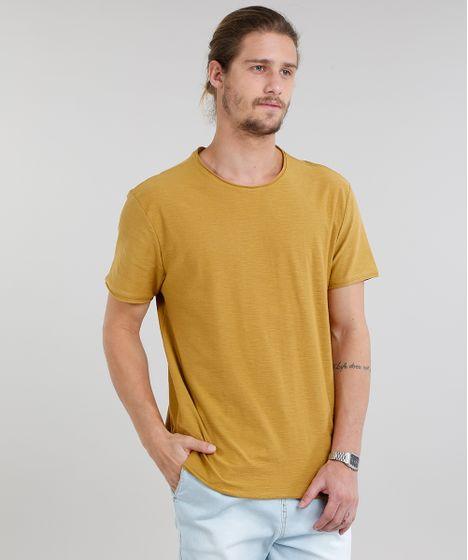 b58b5c0cbc Camiseta Masculina Básica Flamê Manga Curta Gola Careca Mostarda - cea
