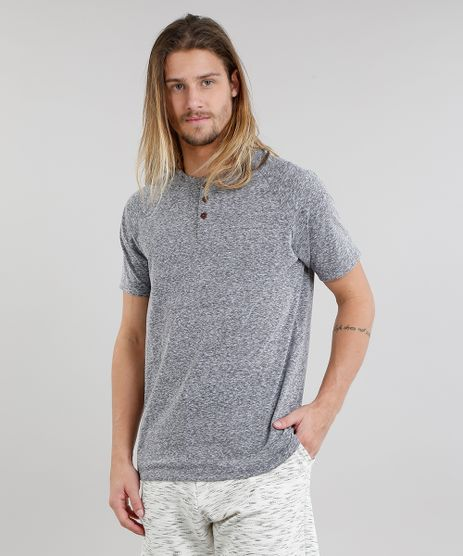 Camiseta-Masculina-com-Botoes-Manga-Curta-Cinza-Mescla-Escuro-8846220-Cinza_Mescla_Escuro_1