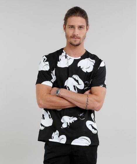 Camiseta Masculina Estampada Mickey Mouse Manga Curta Gola Careca ... 63aff2560f869