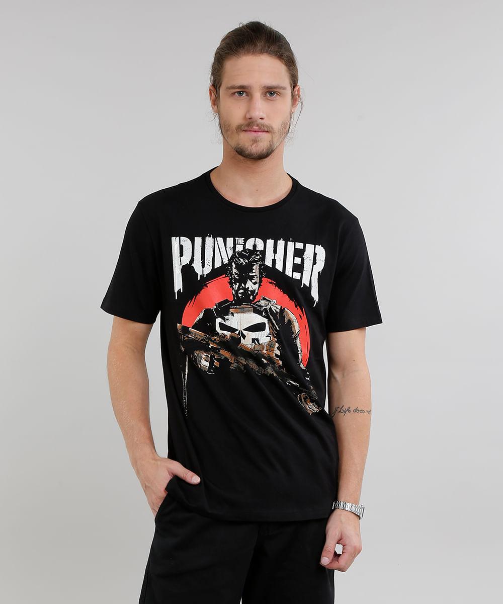 c292ad90e9 Camiseta Masculina Justiceiro Manga Curta Gola Careca Preta - cea